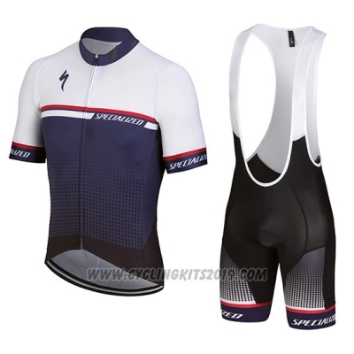 2018 Cycling Jersey Specialized White Purple Short Sleeve and Bib Short