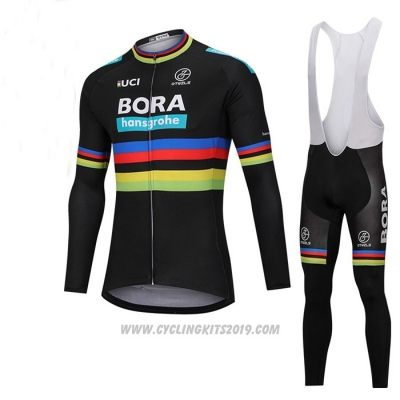 2018 Cycling Jersey UCI Mondo Campione Bora Black Long Sleeve and Bib Tight