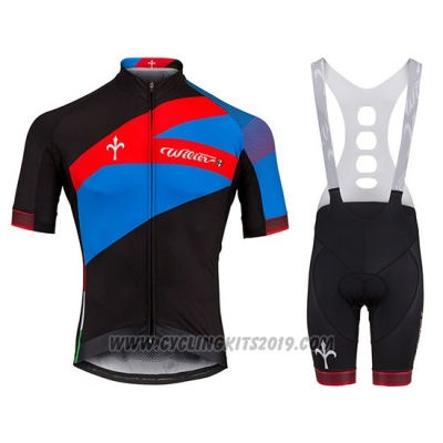 2018 Cycling Jersey Wieiev Spark Red Blue Short Sleeve and Bib Short