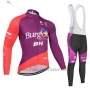 2019 Cycling Jersey Burgos BH Purple Red Long Sleeve and Bib Tight