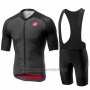 2019 Cycling Jersey Castelli Aero Race Black Short Sleeve and Bib Short
