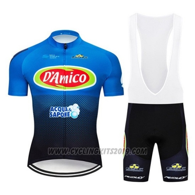 2019 Cycling Jersey D'Amico Blue White Short Sleeve and Bib Short