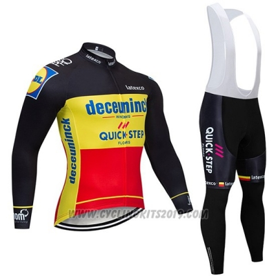 2019 Cycling Jersey Deceuninck Quick Step Black Yellow Red Long Sleeve and Bib Tight