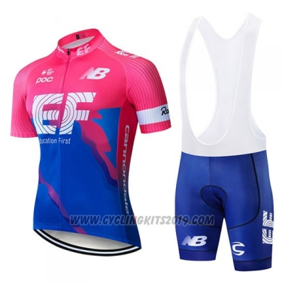 2019 Cycling Jersey Ef Education First Blue Pink Short Sleeve and Bib Short