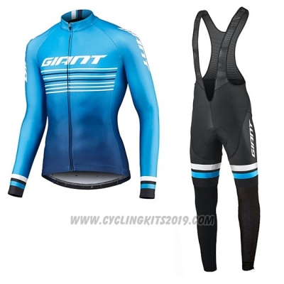 2019 Cycling Jersey Giant Race Day Blue Long Sleeve and Bib Tight