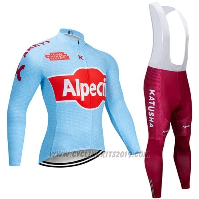2019 Cycling Jersey Katusha Alpecin Blue Red Long Sleeve and Bib Tight