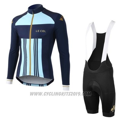 2019 Cycling Jersey Lecol Sky Bluee Blue Long Sleeve and Bib Tight