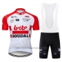 2019 Cycling Jersey Lotto Soudal Red White Short Sleeve and Bib Short