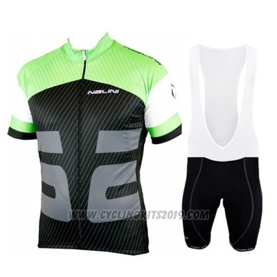 2019 Cycling Jersey Nalini Green Black Short Sleeve and Bib Short
