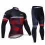 2019 Cycling Jersey Northwave Black Red White Long Sleeve and Bib Tight