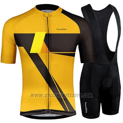2019 Cycling Jersey Runchita Yellow Black Short Sleeve and Bib Short