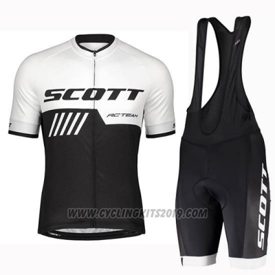 2019 Cycling Jersey Scott Black White Short Sleeve and Bib Short
