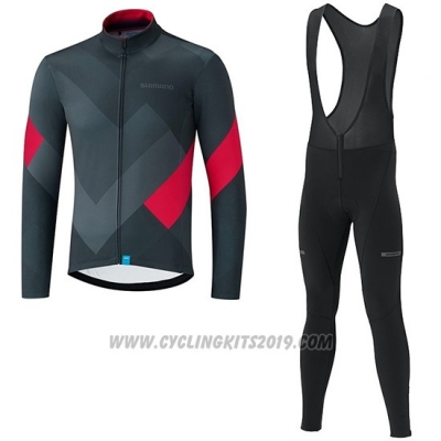 2019 Cycling Jersey Shimano Gray Red Long Sleeve and Bib Tight