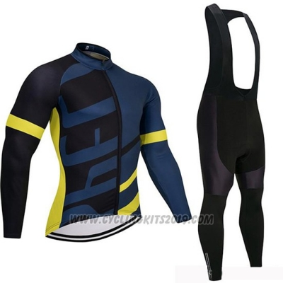 2019 Cycling Jersey Specialized Black Blue Yellow Long Sleeve and Bib Tight