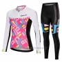 2019 Cycling Jersey Women Mieyco White Pink Long Sleeve and Bib Tight