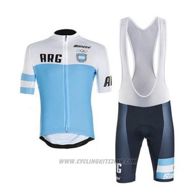 2020 Cycling Jersey Argentina White Blue Short Sleeve and Bib Short