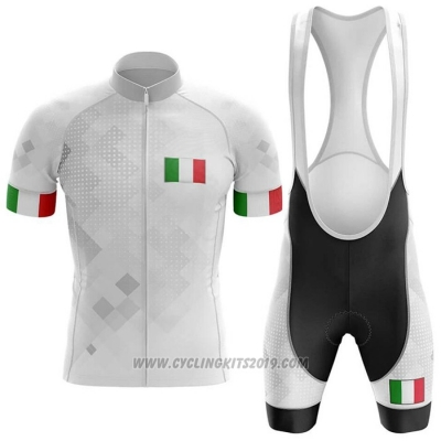 2020 Cycling Jersey Italy White Short Sleeve and Bib Short (2)