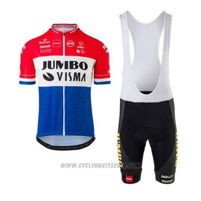 2020 Cycling Jersey Jumbo Visma Red White Blue Short Sleeve and Bib Short