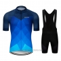 2020 Cycling Jersey Le Col Light Bluee Deep Blue Short Sleeve and Bib Short