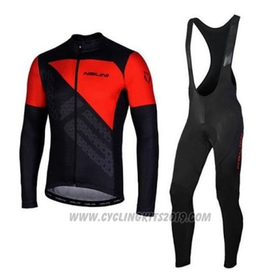 2020 Cycling Jersey Nalini Red Black Long Sleeve and Bib Tight