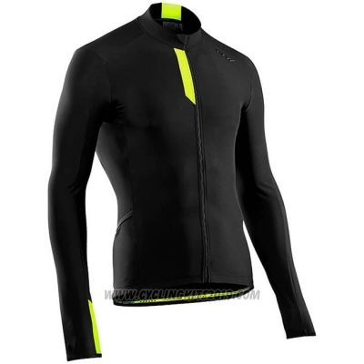 Cycling Jersey Northwave Black Yellow Long Sleeve and Bib Tight