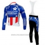 2010 Cycling Jersey BMC Campione The United States Blue Long Sleeve and Bib Tight
