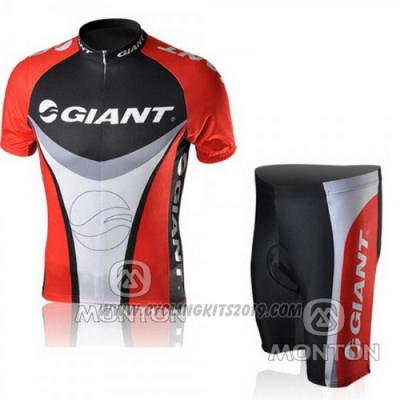 2010 Cycling Jersey Giant Black and Red Short Sleeve and Bib Short