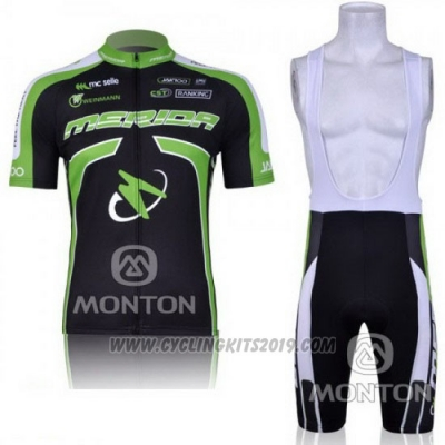 2011 Cycling Jersey Merida Black and Green Short Sleeve and Bib Short