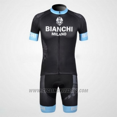 2012 Cycling Jersey Bianchi Black and Light Blue Short Sleeve and Bib Short