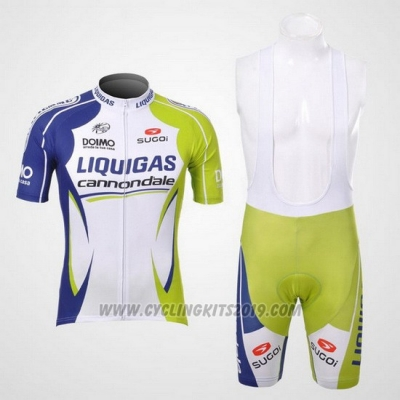 2012 Cycling Jersey Liquigas Cannondale Green and White Short Sleeve and Bib Short
