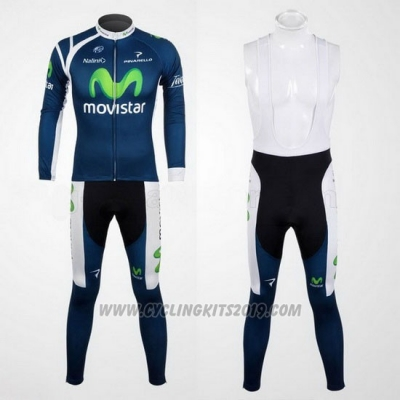 2012 Cycling Jersey Movistar Blue Long Sleeve and Bib Tight
