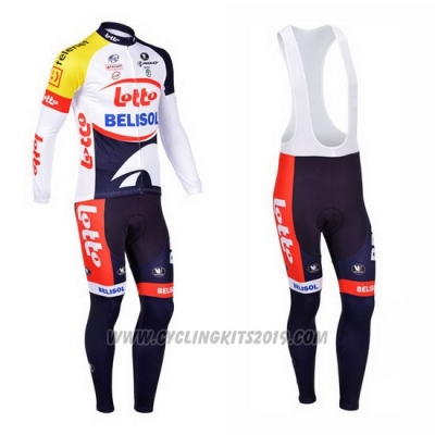 2013 Cycling Jersey Lotto Belisol Purple and White Long Sleeve and Bib Tight