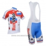 2013 Cycling Jersey Rusvelo White and Red Short Sleeve and Bib Short