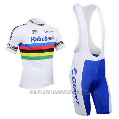 2013 Cycling Jersey UCI Mondo Campione Lider Rabobank White Short Sleeve and Bib Short