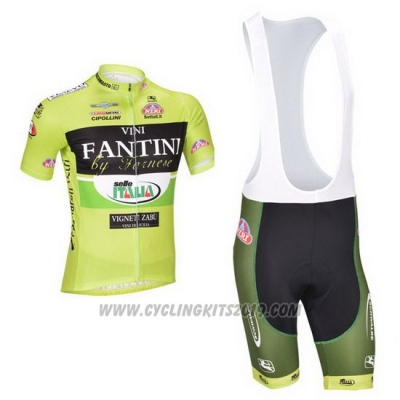 2013 Cycling Jersey Vini Fantini Green and Black Short Sleeve and Bib Short
