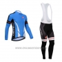 2014 Cycling Jersey Castelli Blue and Black Long Sleeve and Bib Tight