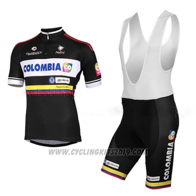2014 Cycling Jersey Colombia Black Short Sleeve and Bib Short