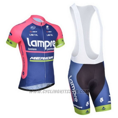 2014 Cycling Jersey Lampre Merida Pink and Blue Short Sleeve and Bib Short