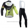 2014 Cycling Jersey Specialized Black and Green Long Sleeve and Bib Tight