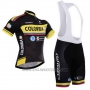 2015 Cycling Jersey Colombia Black and Yellow Short Sleeve and Bib Short