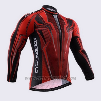 2015 Cycling Jersey Fox Cyclingbox Black and Red (2) Long Sleeve and Bib Tight