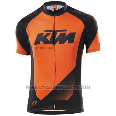 2015 Cycling Jersey Ktm Black Orange Short Sleeve and Salopette