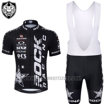2015 Cycling Jersey Rock Racing White and Black Short Sleeve and Bib Short