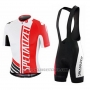 2015 Cycling Jersey Specialized Red and White Short Sleeve and Bib Short