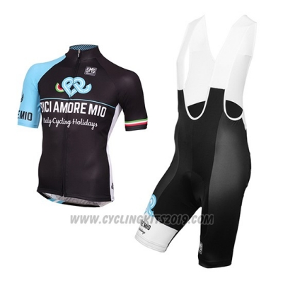 2016 Cycling Jersey Bici Amore Mio Black and Blue Short Sleeve and Bib Short