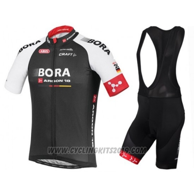 2016 Cycling Jersey Bora Black and Red Short Sleeve and Bib Short