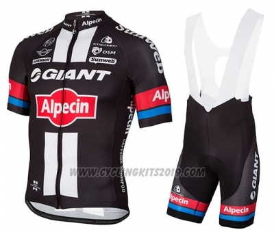 2016 Cycling Jersey Giant Alpecin Black and Red Short Sleeve and Bib Short