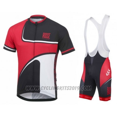 2016 Cycling Jersey Pink Red and Black Short Sleeve and Bib Short