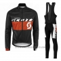 2016 Cycling Jersey Scott Orange and Black Long Sleeve and Salopette