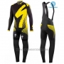 2016 Cycling Jersey Specialized Black and Yellow Long Sleeve and Bib Tight